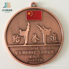 Поставка Подгоняйте Логос сплава литья металла тхэквондо Медали с лентой