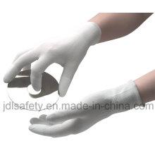 Guante de trabajo poliéster con la parte superior del dedo PU y PVC Mini puntos (PN8108)