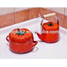 5pcs Tomato Enamel casserole Pot Milk Pot Soup Pot juego de ollas de peltre