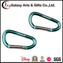 Personalizado verde promoção escalada mosquetão de alumínio com o logotipo do Laser
