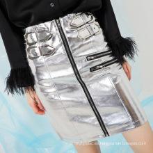 Falda de cuero de señora con cremallera de calidad superior de otoño