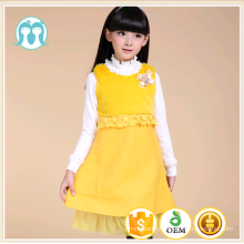 high quality yellow wool medium dress children autumn dress pure color wool one piece dress simple design girls frock