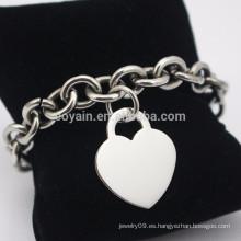 Pulsera de acero inoxidable en blanco plateado amor corazón pulsera de cadena