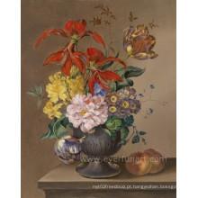Pintura abstrata pintada mão clássica da flor