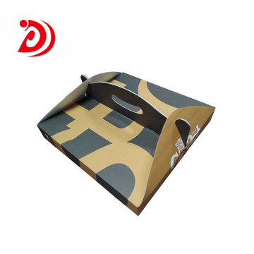 Pizza cardboard box with handle