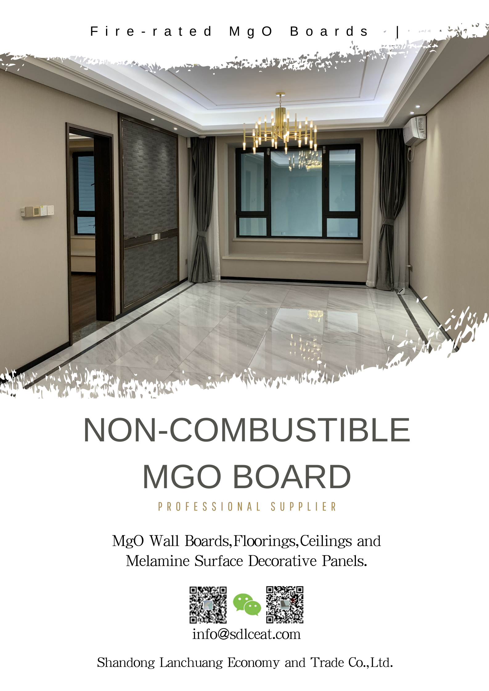 3mm non-combustible decorative mgo panels without kraft paper