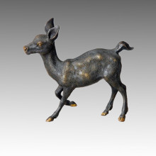 Animal Brass Statue Running Deer Bronze Sculpture Tpal-031