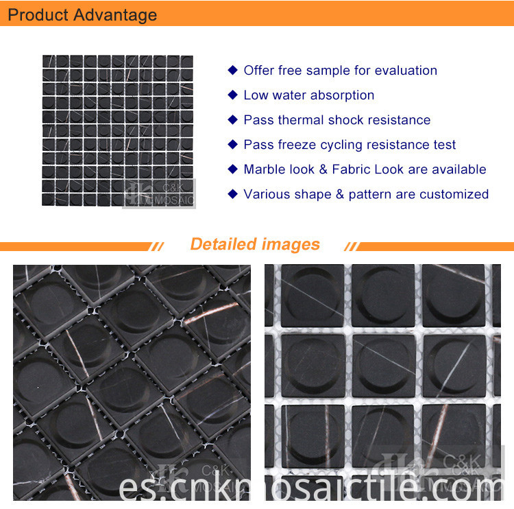 Black Marble 3d Glass Mosaic Tiles (2)