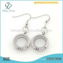Nouveau design en gros boucle d'oreille à cristaux flottants de 25 mm pour femmes
