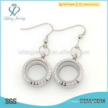 New design wholesale 25mm floating crystal memory locket earring for women