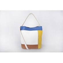 Bolso de cubo de cuero de mujer multicolor hecho a mano con monedero