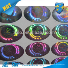 Folhas de etiqueta de holograma, selo de etiqueta de holograma redondo personalizado para caixas