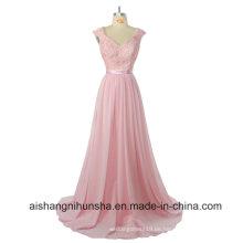 Brautjungfer eine Linie Flügelärmeln lange Spitze Hochzeit Kleid