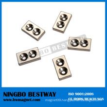 N42 1/2in.x1/2in.x1/8in. Block NdFeB Countersunk magnets