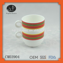Nouvelle tasse de camping, tasse en céramique avec impression, tasse empilable en céramique