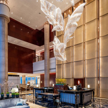 Luxury K9 gold crystal glass hotel pendant lamp