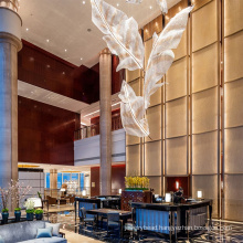 Custom Ceiling big Chandelier luxury K9 gold crystal glass hanging hotel Pendant Lamp