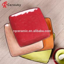 Завод прямой продажи красочные квадратные керамические пластины с черным ободком
