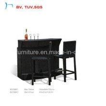 Black Rattan Elegant Cozy Furniture Outdoor Coffee Set (8019BT+8019BC)