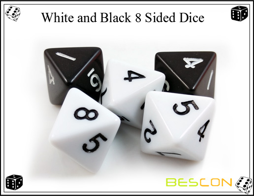 White and Black 8 Sided Dice