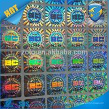 Etiqueta engomada destructible del holograma / cáscara holográfica pegatina