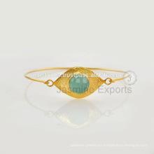 Lapislázuli Piedras preciosas plateadas plata esterlina brazaletes para suministro al por mayor