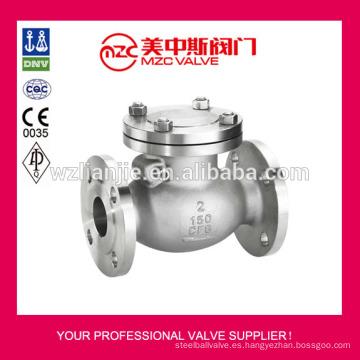 ANSI 150LB acero inoxidable válvulas de retención