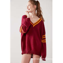 Red Distressed Pullover Hockey Sweater