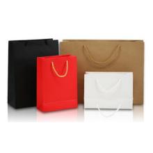 Sacola promocional de papel em branco, cartão branco para roupas portáteis sacola de papel para presente