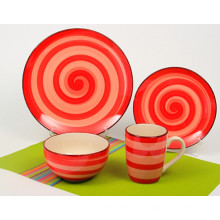 16pcs Keramik Orange Kreis handgemaltes Abendessen Set (TM01063)