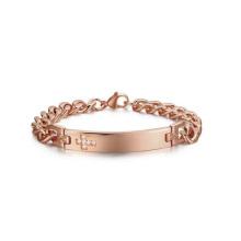Bracelet chrétien en or rose Chunky, bijoux de bracelet de pierre gemme croix