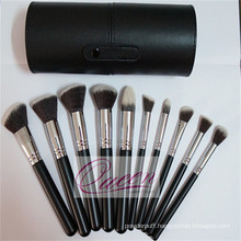 High Quality 10PCS Makeup Brush Set with a Black Cylinder Case