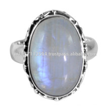 925 Sterling Silver & Rainbow Moonstone Gemstone Simple Design Ring Jewelry