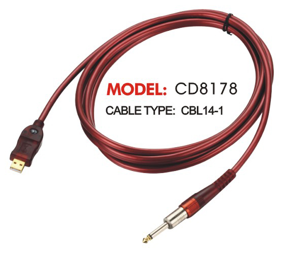 Red USB and Male Connector Cable