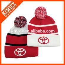 Wholesale winter hip hop custom acrylic knit free pom beanie hat