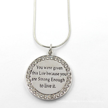 Fashion Jewelry Customerized Engraved Texts Round Pendant Necklace