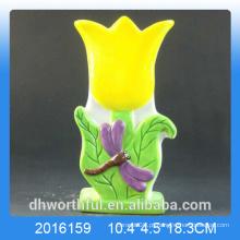 Amarelo flor design cerâmico umidificador de ar para quarto