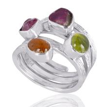 Idocrase natural e turmalina Gemstone 925 Sterling Silver Spiral Ring