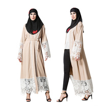 Premium quality polyester women fancy dress muslim kimono front lace abaya in dubai