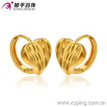 Promoção atacado moda simples 24k banhado a ouro coração imitação jóias brincos de argola - 28509