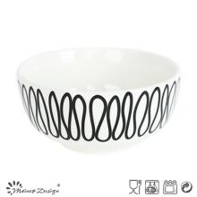 Cuenco de arroz de porcelana 14cm con diseño de calcomanía geométrica