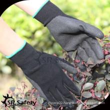 SRSAFETY black nylon shell palm coated sandy finish nitrile glove