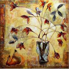 De la pared moderna pintura al óleo de la flor en la lona para la decoración de la pared (fl1-098)