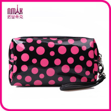 Rectangular Small Travel Size Zipper Closure Polka Dots Cosmetic Makeup Purse Storage Organizer Bag for Women
