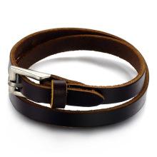 Adjustable womens men's brown leather buckle bracelet