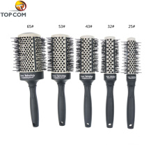 Escova de cabelo de metal térmica redonda preta rótulo privado
