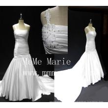 Alibaba robe de mariée 2016 robe de mariée designer une épaule robe de mariée perlée plis long train robe de mariée robe de fille