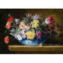 Projetos cerâmicos pintados mão da pintura do potenciômetro de flor