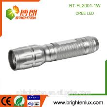 Factory Supply Custom Made Pocket Aluminium Matériel Sliver AA Batterie Powered Bright 1watt Promotion led torche lampe de poche
