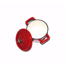 4-Zoll Mini Rund Gusseisen Lided Casserole / Cocotte Hält 0,5-qt Verwendet Öfen